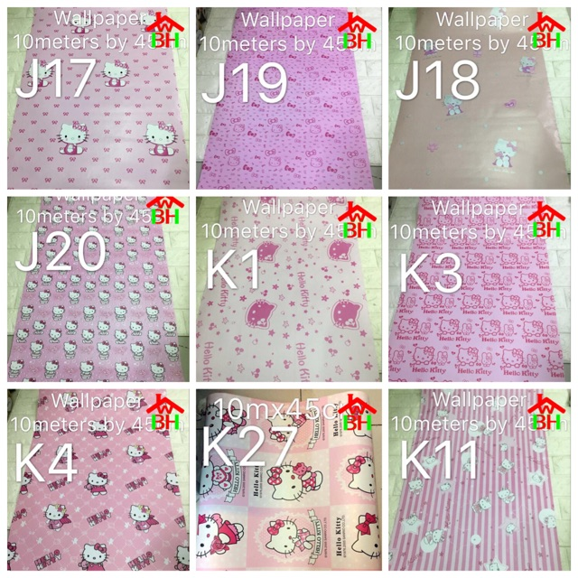 Kt15 Hello Kitty Wallpaper Wall Sticker Home Decor Shopee Philippines