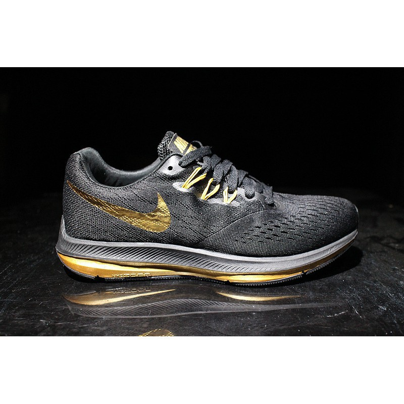wholesale dealer 5b62f 1bacc H2383GY Nike Zoom WINFLO 4 black gold men's running shoes