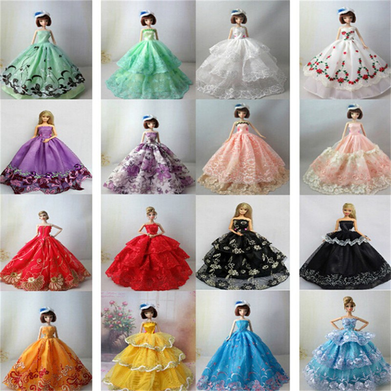 5pcs 30cm Barbie Dresses DIY Doll Clothes Party Dress Barbie Doll Accessories