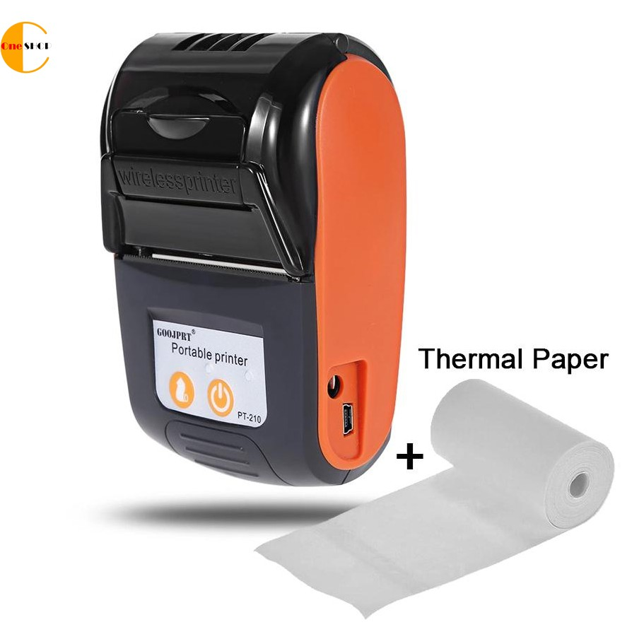 PT-210 Portable Bluetooth Thermal Printer Handheld 58mm Receipt Printer  WITH Thermal Paper (Orange)