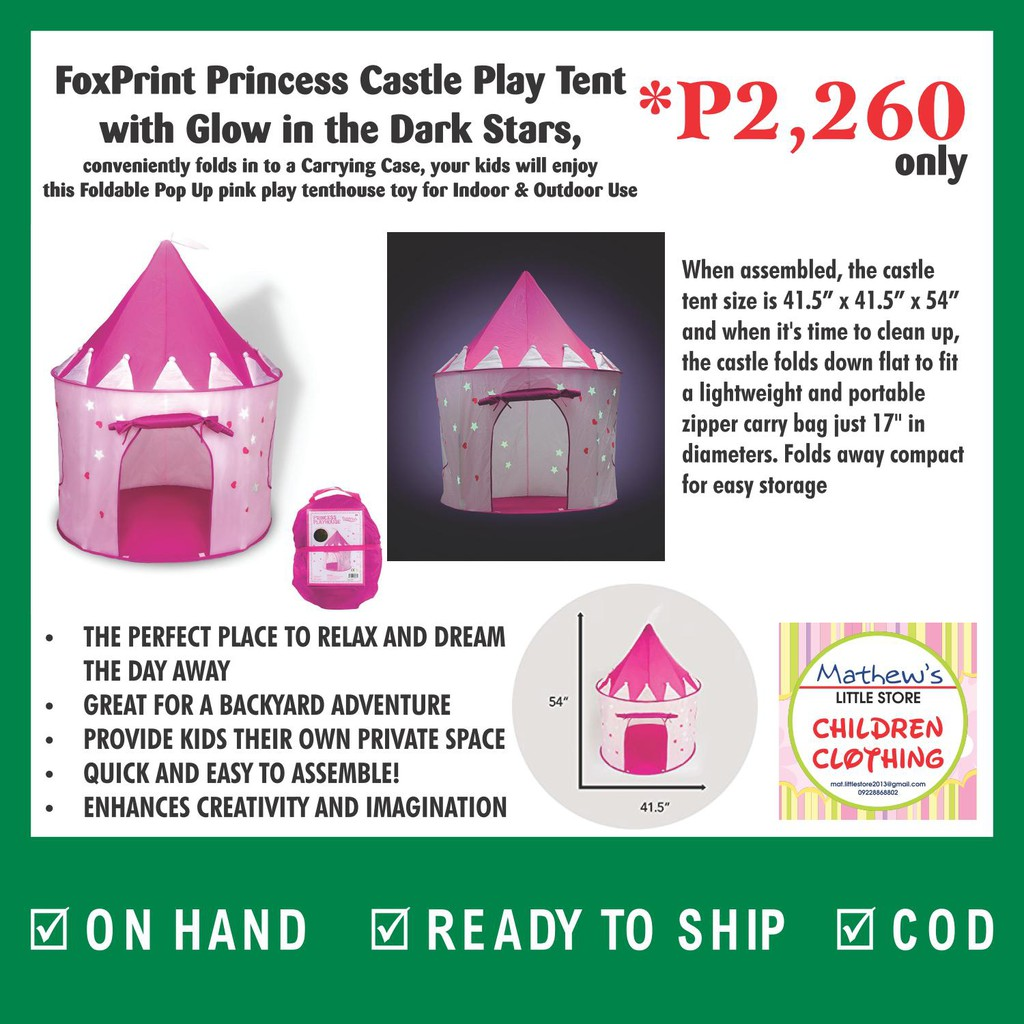 new style 43e24 47551 FoxPrint Princess Castle Play Tent w/ Glow in the Dark Stars