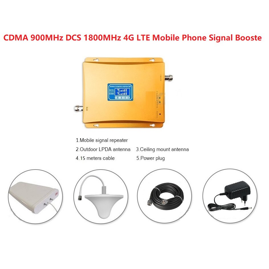 CDMA 900MHz DCS 1800MHz 4G LTE Mobile Phone Signal Booster