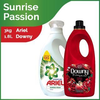Ariel Liquid Sunrise Fresh Bottle (3kg) and Downy Passion Bottle (1 8L)