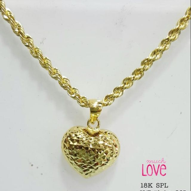 18k Saudi Gold Heart Necklace With Pendant Shopee Philippines