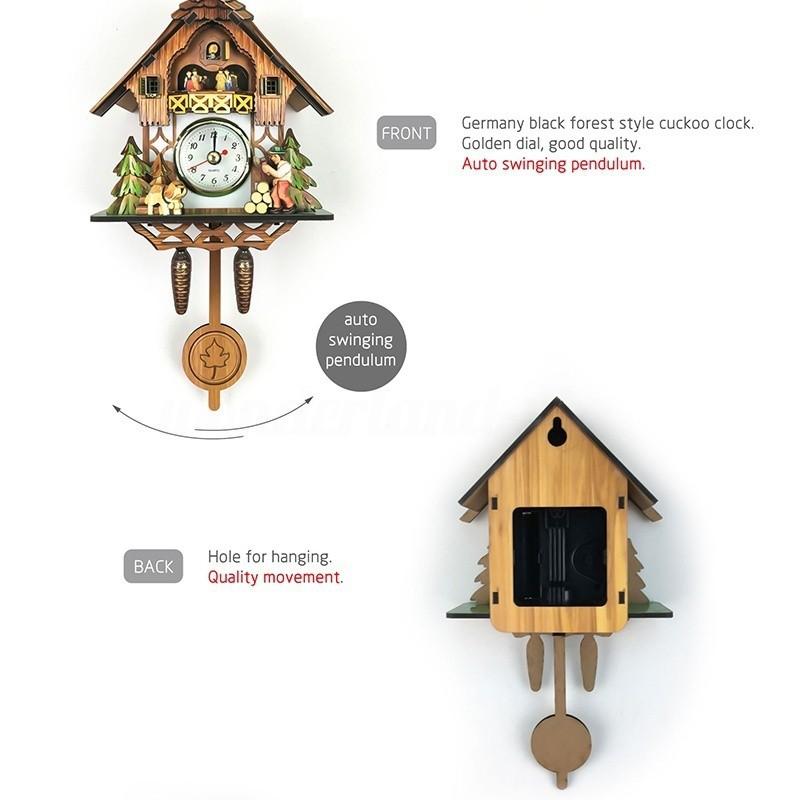 Wooden Cuckoo Wall Clock Bird Time Bell Swing Alarm _WL | Shopee