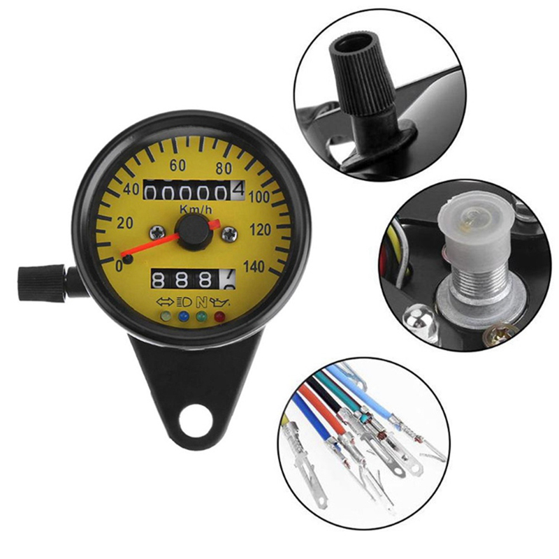 Akozon 1 x Universal Signal Odometer LED Backlight Motorcycle Speedometer Indicator Speed Gauge K//MH