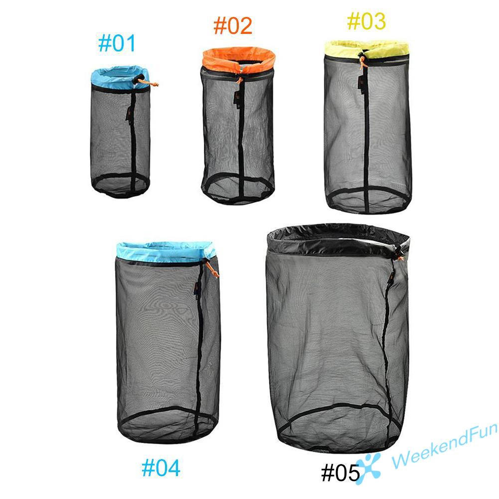 Ultra Light Mesh Stuff Sack Storage Drawstring Travel Camping Outdoor Hiking Bag