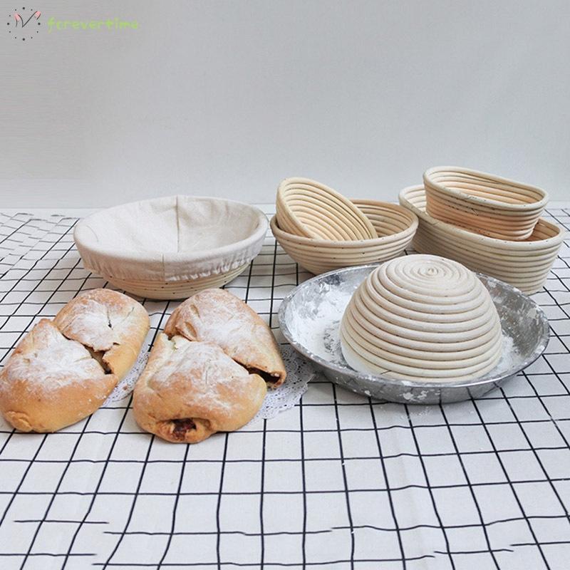Round Rattan Proofing Basket Banneton Brotform Bowl Bread Proofing Proving Baskets Pastry Dough Sourdough Proofing Blooming Basket Bread Dough Proofing Rising Basket w// Bread Scraper Liner /& Brush