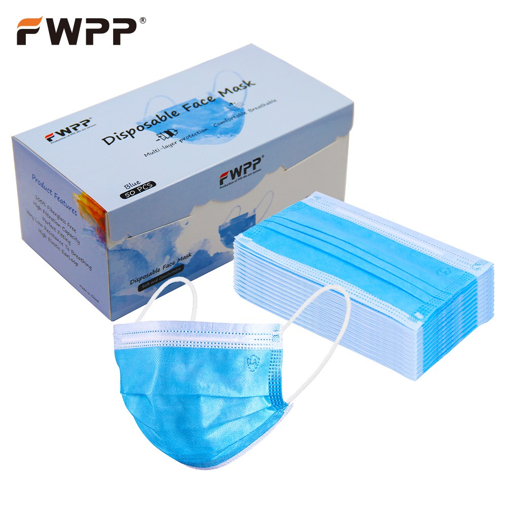 Fwpp Dustproof Layer Disposable Blue 50-4 Medical Mask