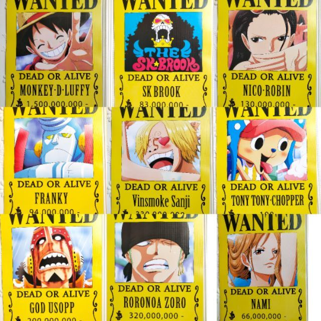 One Piece Anime Wanted Posters 9pcs Shopee Philippines