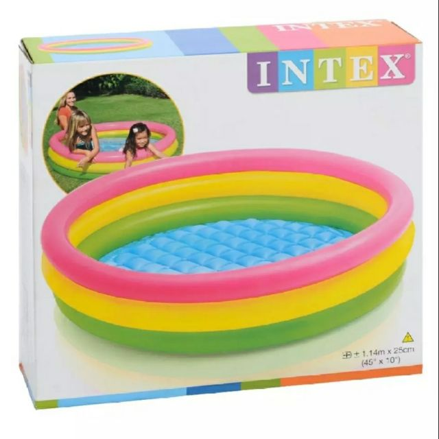 Next Day Ship Out Original Intex 45 X 10 Inch 3 Ring Multicolored Inflatable Swimming Pool For Kids Shopee Philippines