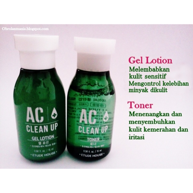 Etude House AC Clean Up Toner & Gel Lotion For Acne Prone | Shopee Philippines