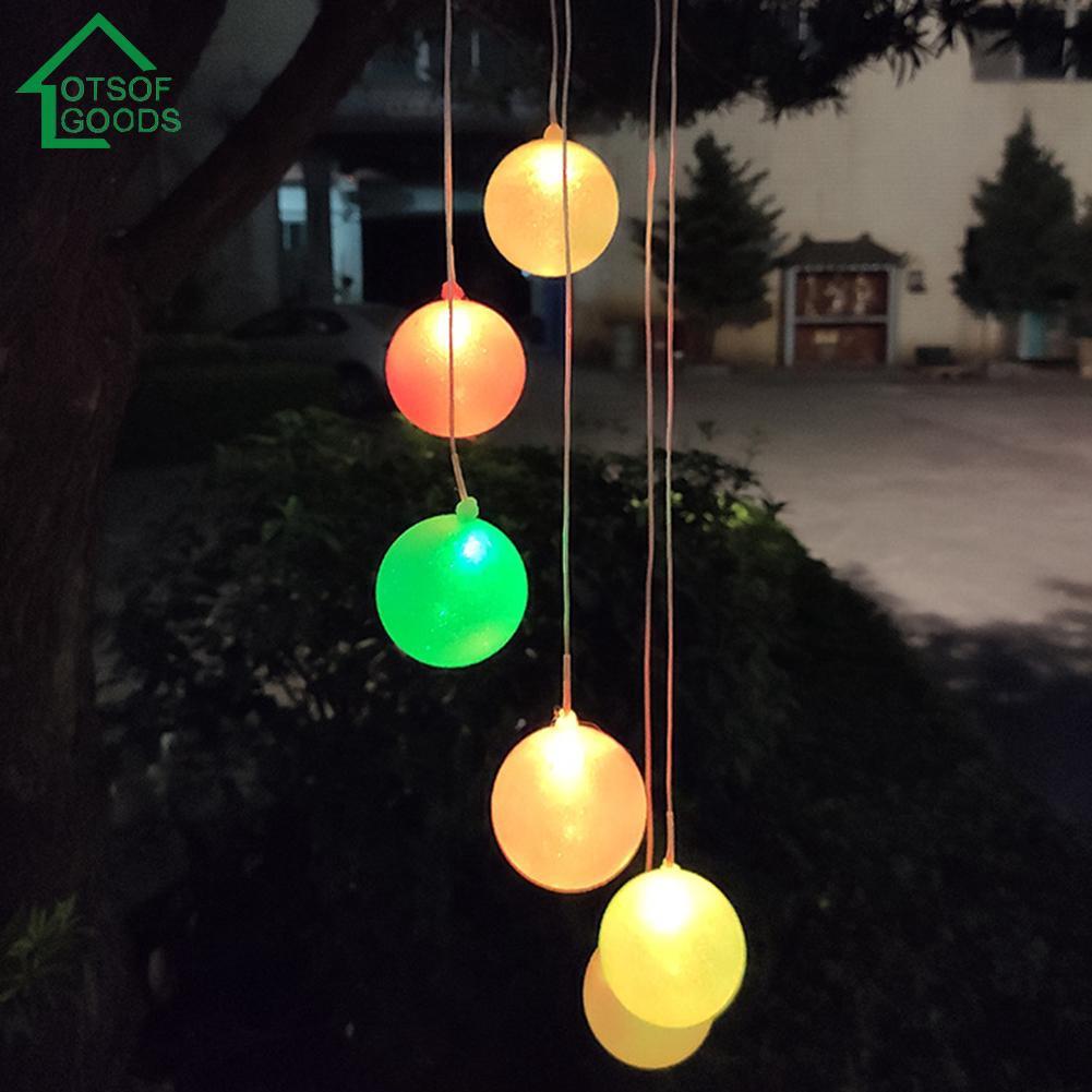 6LED Solar Powered Star Shape Wind Chimes Light Outdoor Garden Hanging Lamp