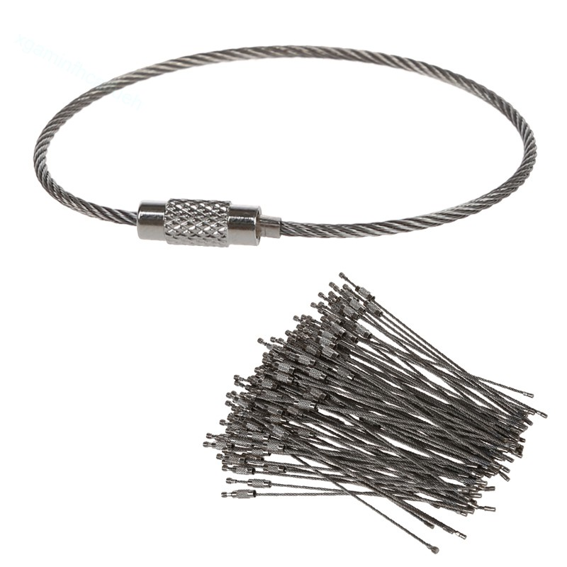 80 Lot Stainless Steel Key Ring Key Chain braided wire cable screw lock car US