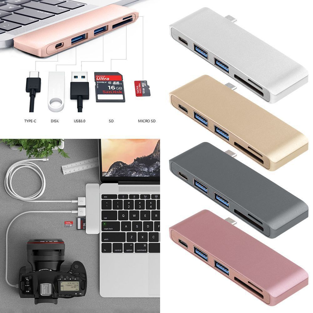 5in1 For Macbook Pro Mac PC Lapto USB C Hub 3.0 Type-C Adapter Charging/&Reader