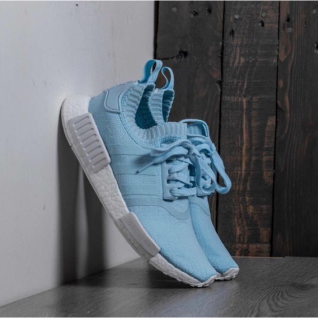 Authentic Adidas Womens NMD R1 Primeknit Ice Blue in US 8