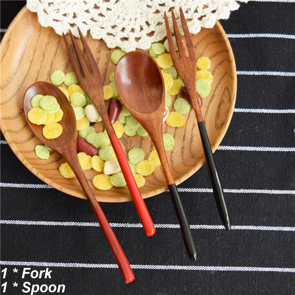 2pcs//set Natural Gift Wooden Dessert Cake Spoon Fork Set Kitchen Coffee Tea Soup