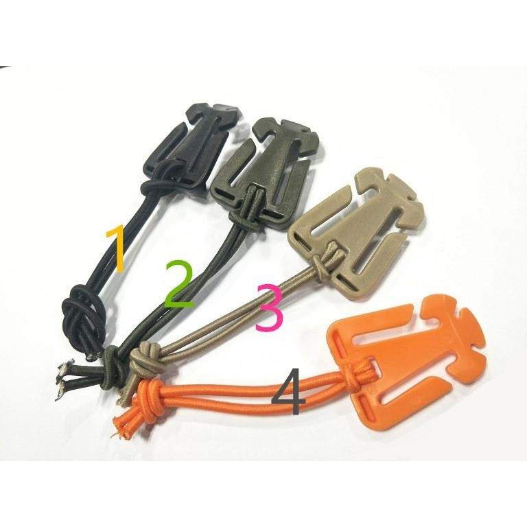 10 x Tactical Cord Clips Molle Webbing Buckle Elastic Tie-down Strap Carabiners
