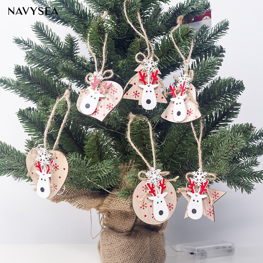 2PCS Christmas White Elk Bell Deer Xmas Tree Hanging Ornaments Party Decoration