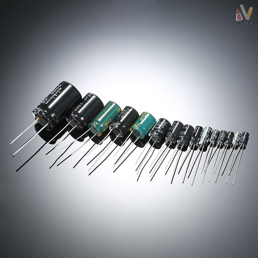 ❃RCC❃ 120pcs 15 Values 1uF-2200uF 50V Electrolytic Capacitors Assorted Kit