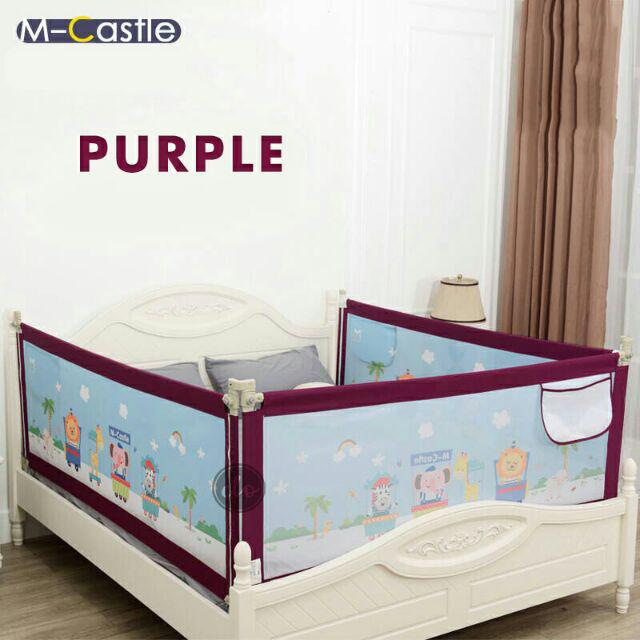 Toddlers 2 M for length side and 1.5 M for feet side 2 Set for 2 Sides Queen Size Bed Safety Bed GuardRail Bed Fence for Children Infants-Grey Color