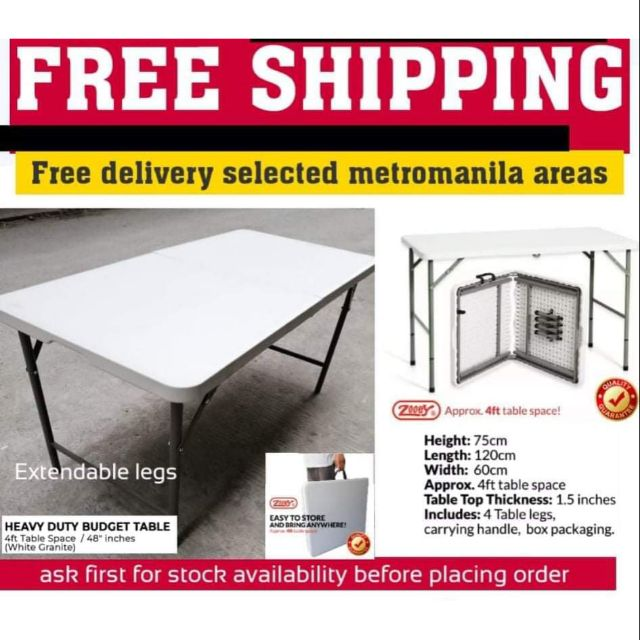 Zooey 4ft Folding Table Free Delivery For Metro Manila Shopee Philippines