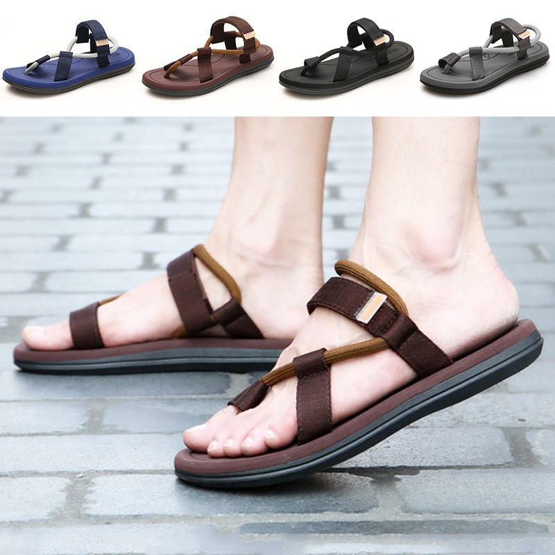 Ready StockMen's Casual Flat sole Nylon Mandals shoes for va