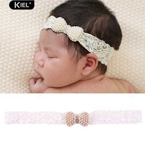Baby girls hairhoop princess pearl lace hairband newborn flower hair accessoriBC