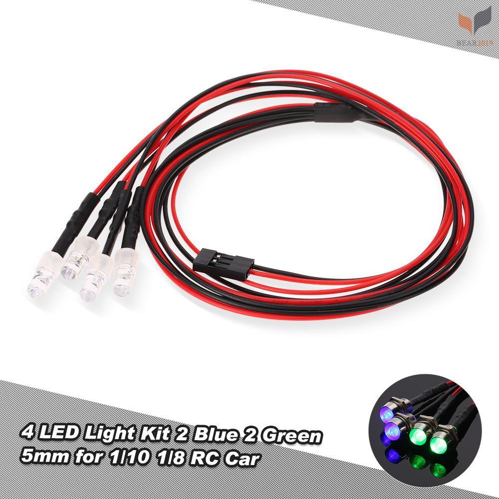 2 sets 5mm RC LED LIGHT KIT 2 Super Bright Head lights And 2 Red Running Lights