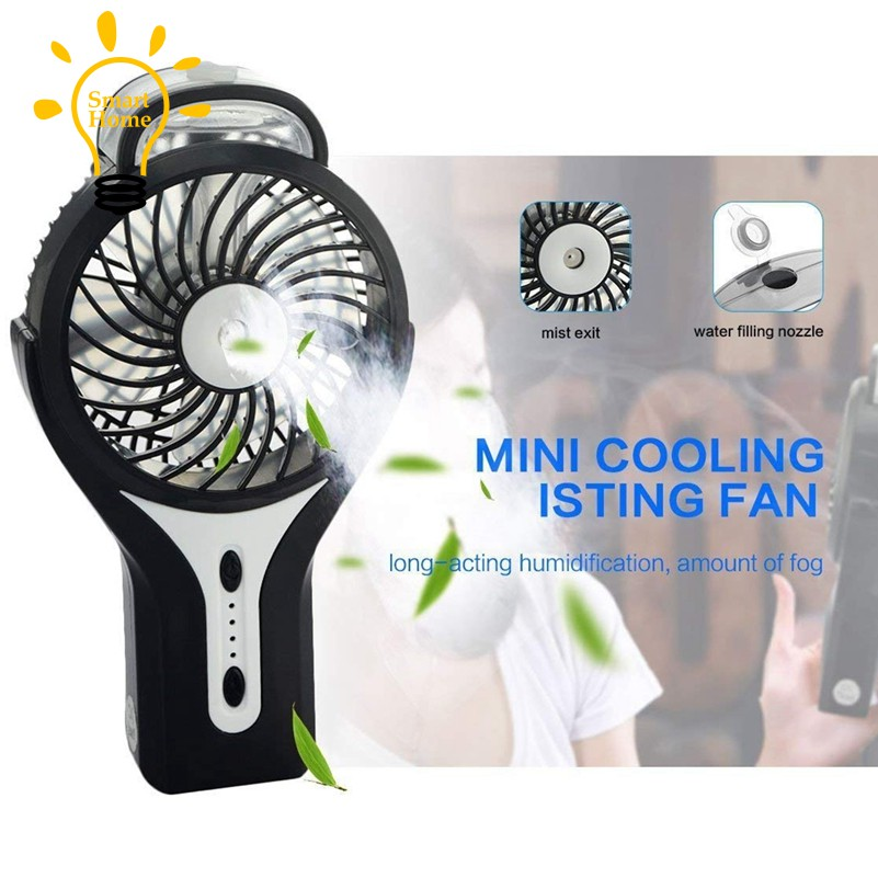 Mini Handheld USB Misting Fan with Personal Cooling Mist Humidifier  Rechargeable Misting Fan