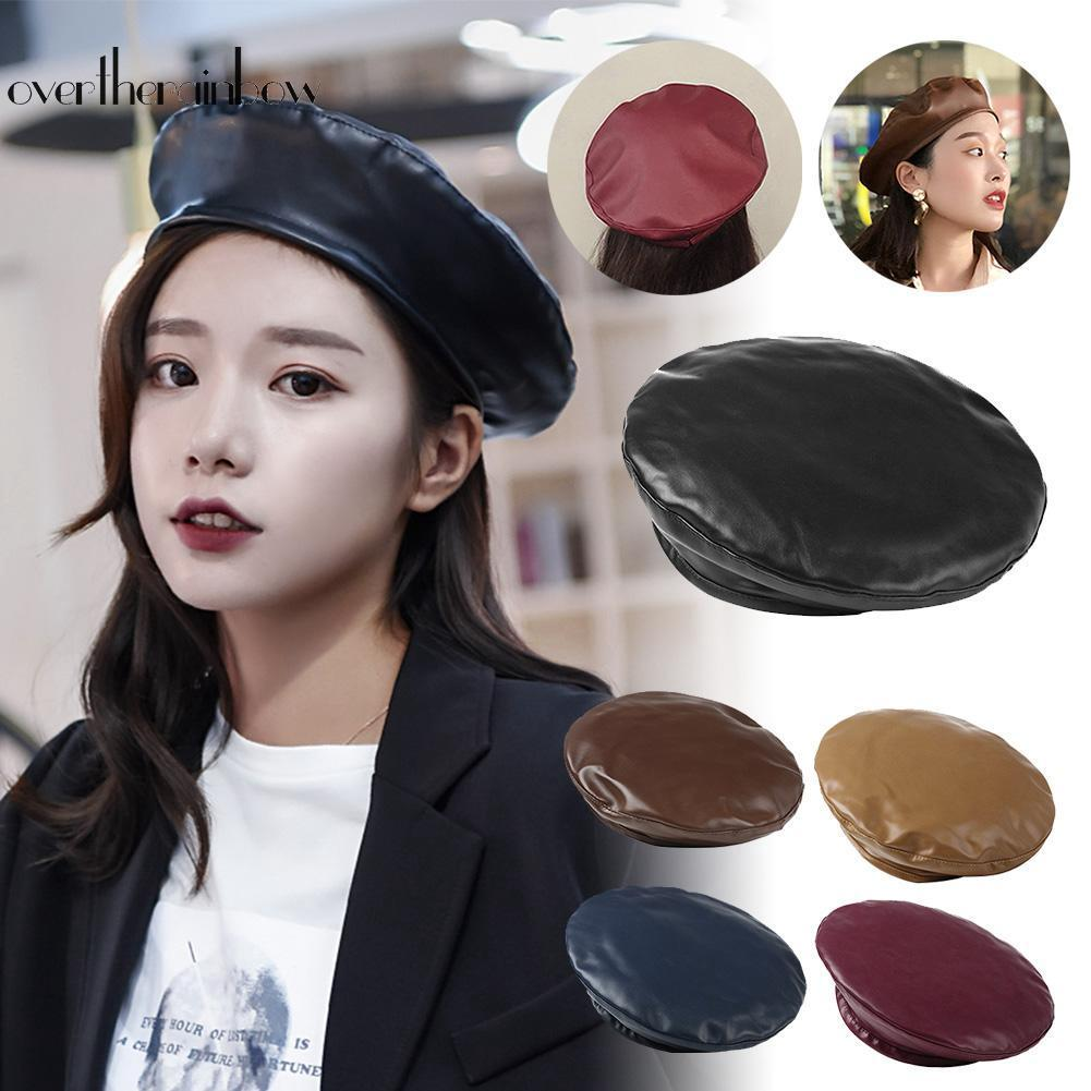 a6f80ed927a46 Fashion Women PU Leather Beret Hats Casual Girls Solid Color ...