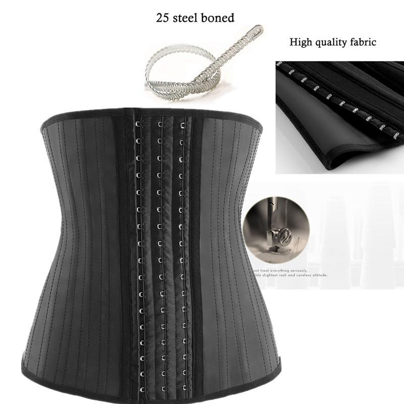 Steel Boned Waist Cincher Black Cotton Underbust Burlesque Shaper Corset Hi-17