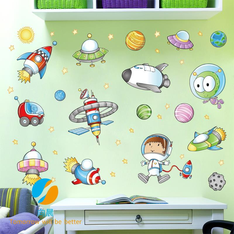 Cartoon Travel Space Wall Stickers Boys Bedroom Children Room Decoration Wallpaper Self Adhesive Cre Shopee Philippines
