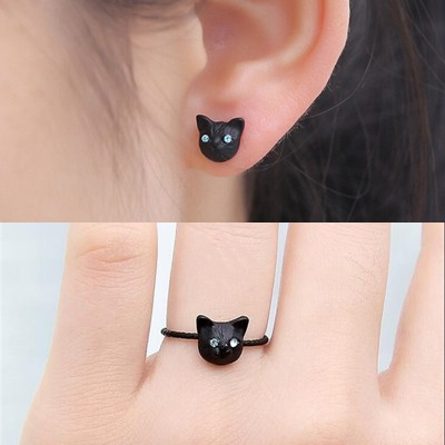 Ring and earring matching set Halloween black cat adjustable ring base earring studs