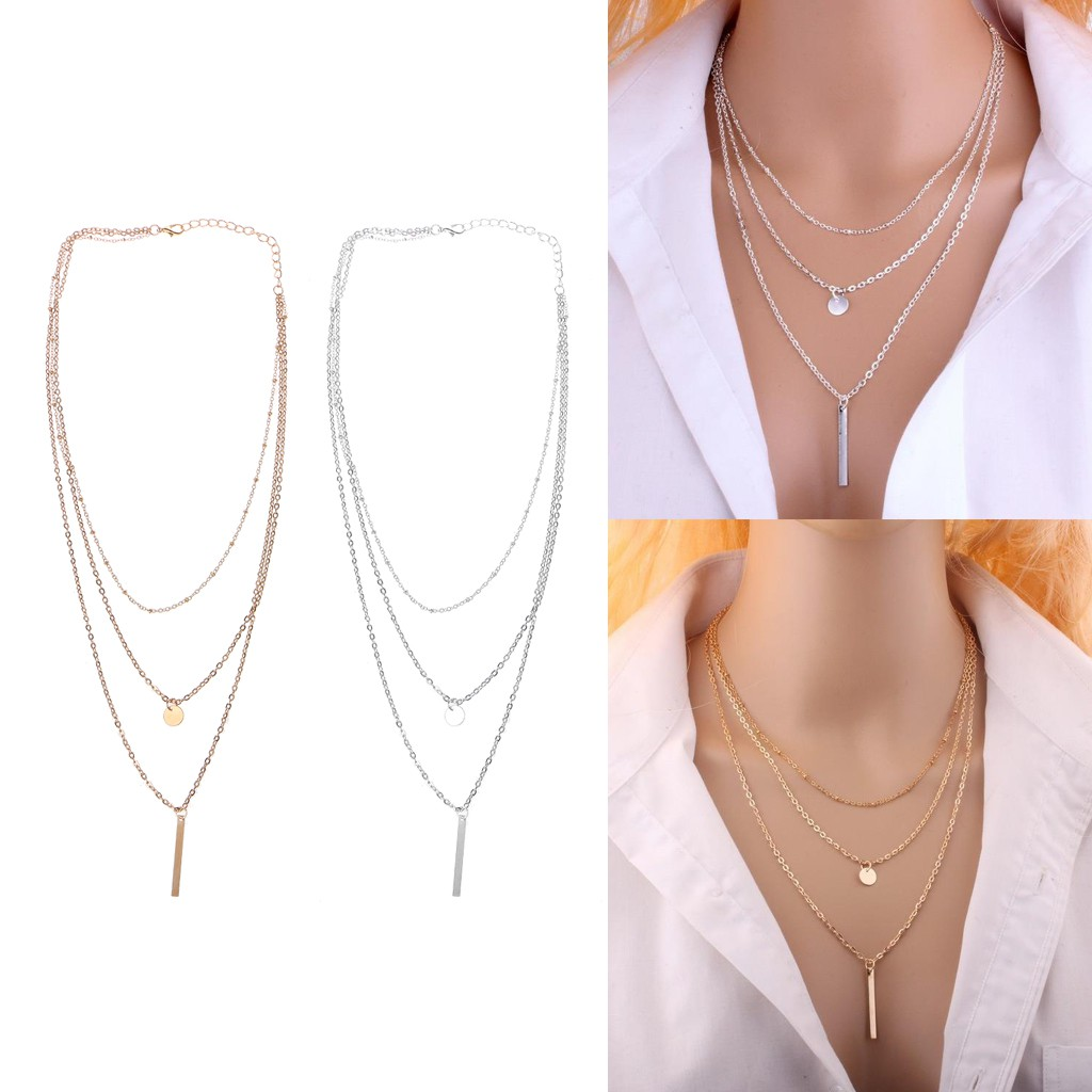 bacfeac9533ca Gold Silver Plated Bar Lariat Necklace 3Layer Chain Necklace