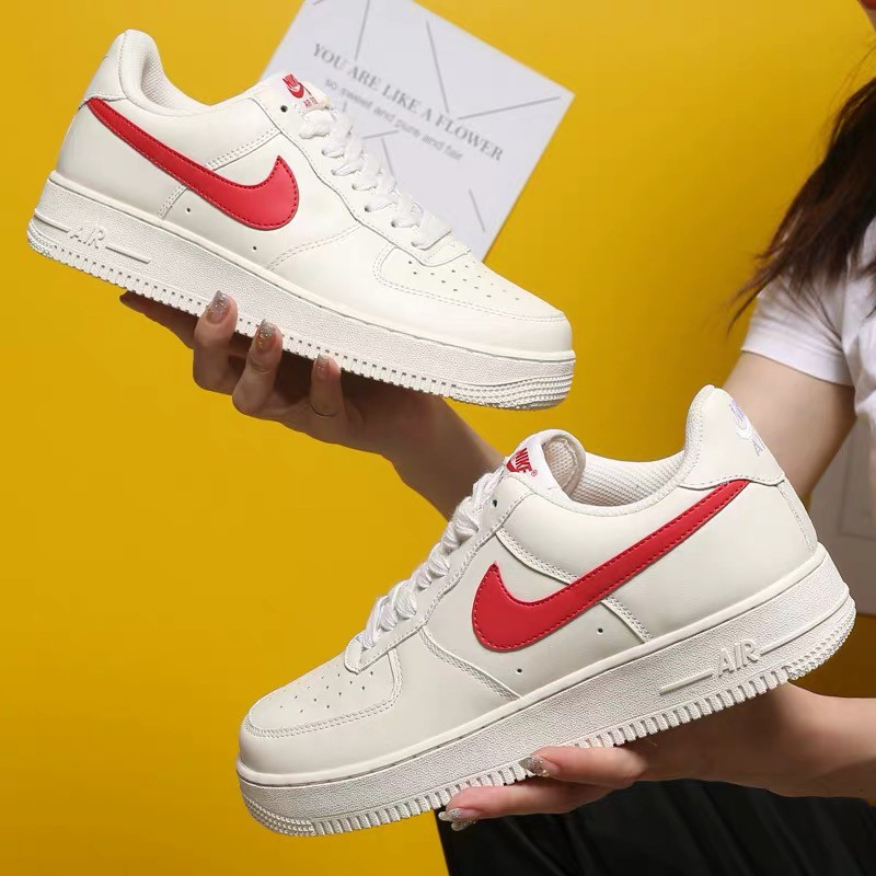 air force 1 white and red mens
