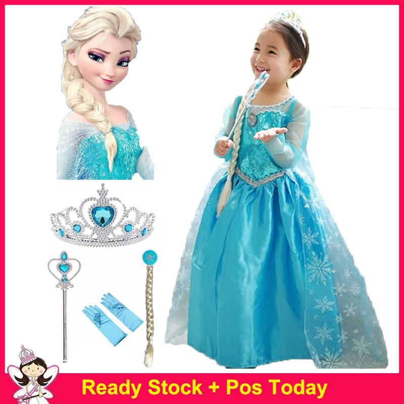 Frozen Disney Princess Girls Kids Party Costume Yr 3-9 Dress+Necklace Set ELSA