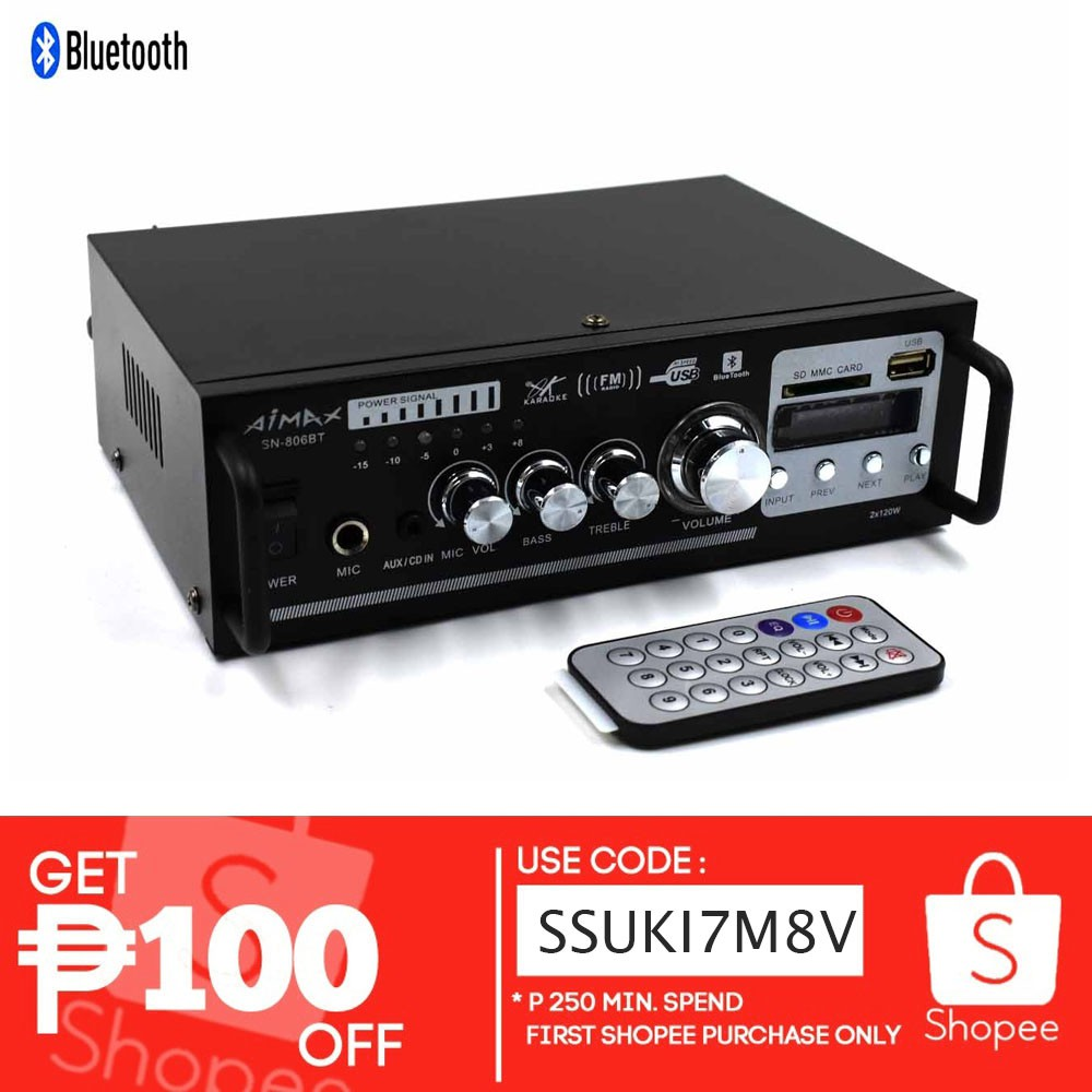 806BT AMPLIFIER Bluetooth Radio ISO Connector WITH Remote