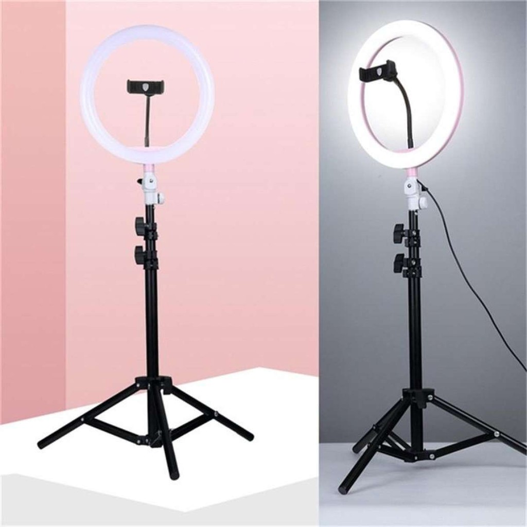 """10''/12''/14"""" Dimmable LED Studio Camera Ring Light Phone Video Light  Annular Lamp with Tripod   Shopee Philippines"""
