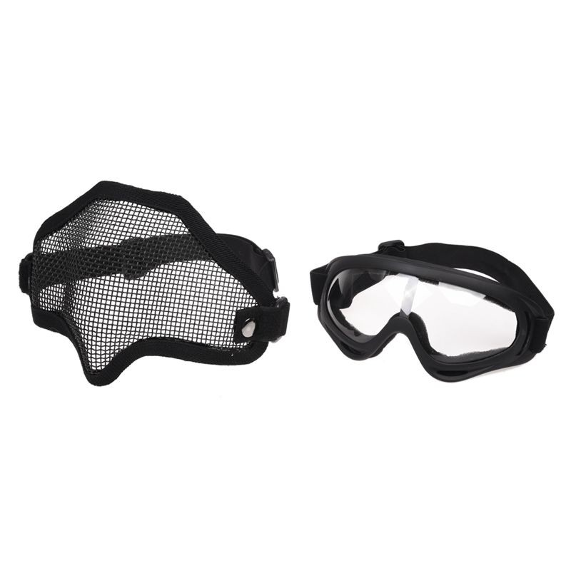 2 in 1 Protection Steel Face Mask with X400 Clear Lens Goggles Airsoft  Paintball