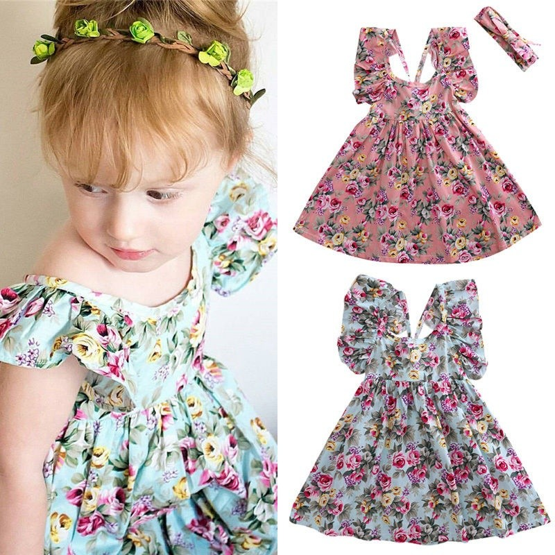 Kids Baby Girls Backless Skater Dress Sleeveless Floral Summer Party Princess SP