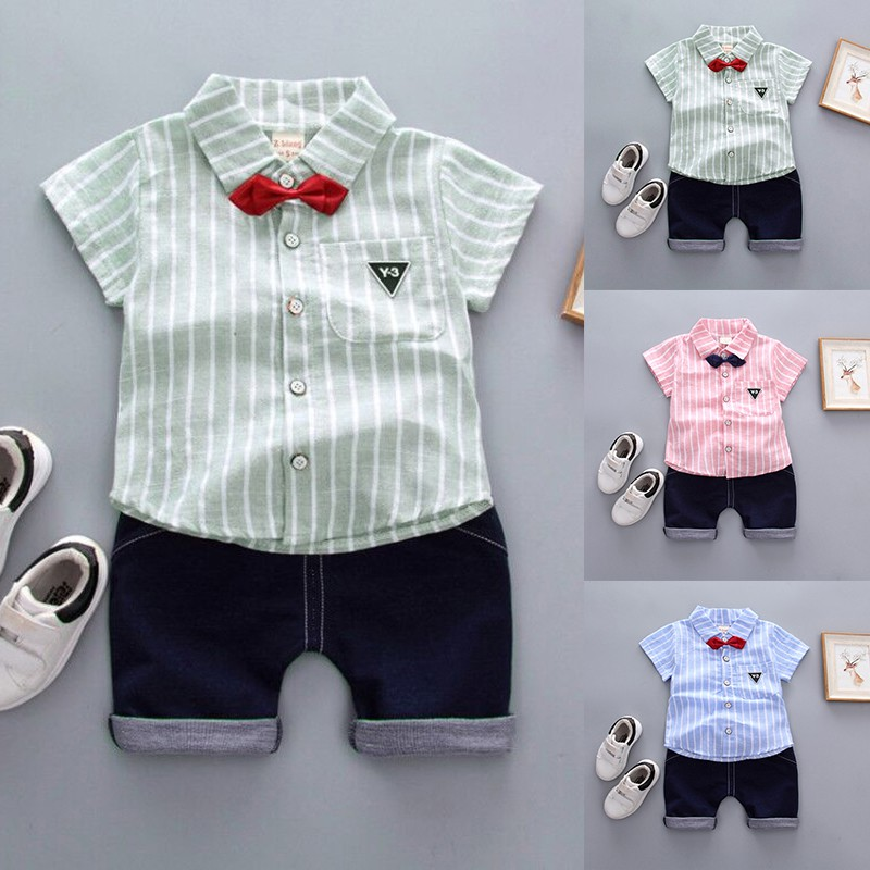 Baby boys summer clothing sets cotton kids tie gentleman outfits clothes suit