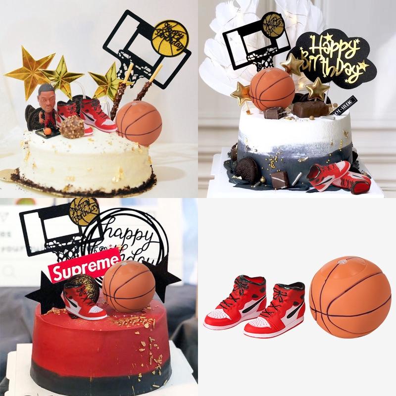 Admirable Basketball Theme Mini Sneakers Kids Birthday Cake Decoration Party Funny Birthday Cards Online Benoljebrpdamsfinfo