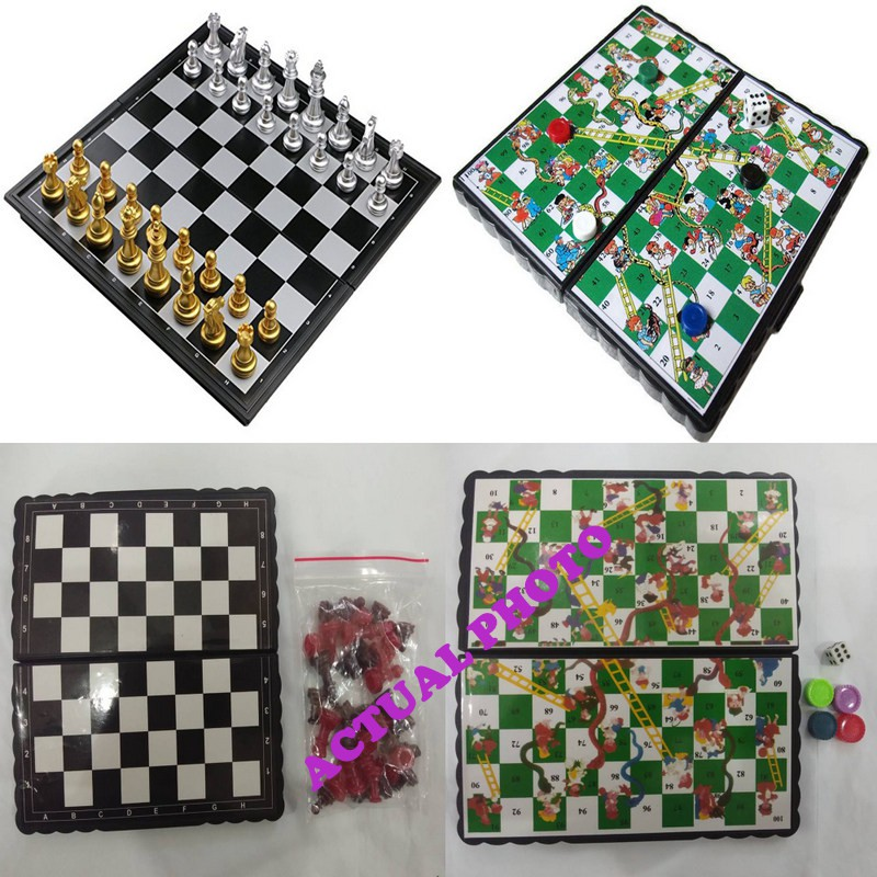 MINI BOARD GAMES CHESS DAMA and SNAKE & LADDER FOR KIDS