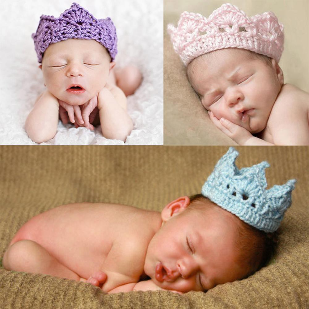 03c449fe3e1 Fashion Crochet Knit Crown Baby Accessories Hat Newborn Headband ...