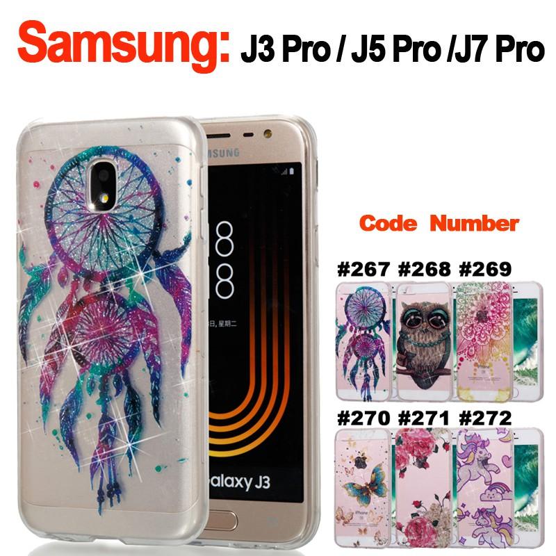 Soft Glitter Floral Clear Case Samsung Galaxy J3 J5 J7 Pro