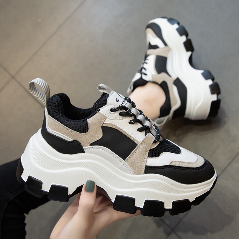 Chunky Sneakers Platform Vulcanize Female Wedges Shoes for Women Casual Black White Sponge