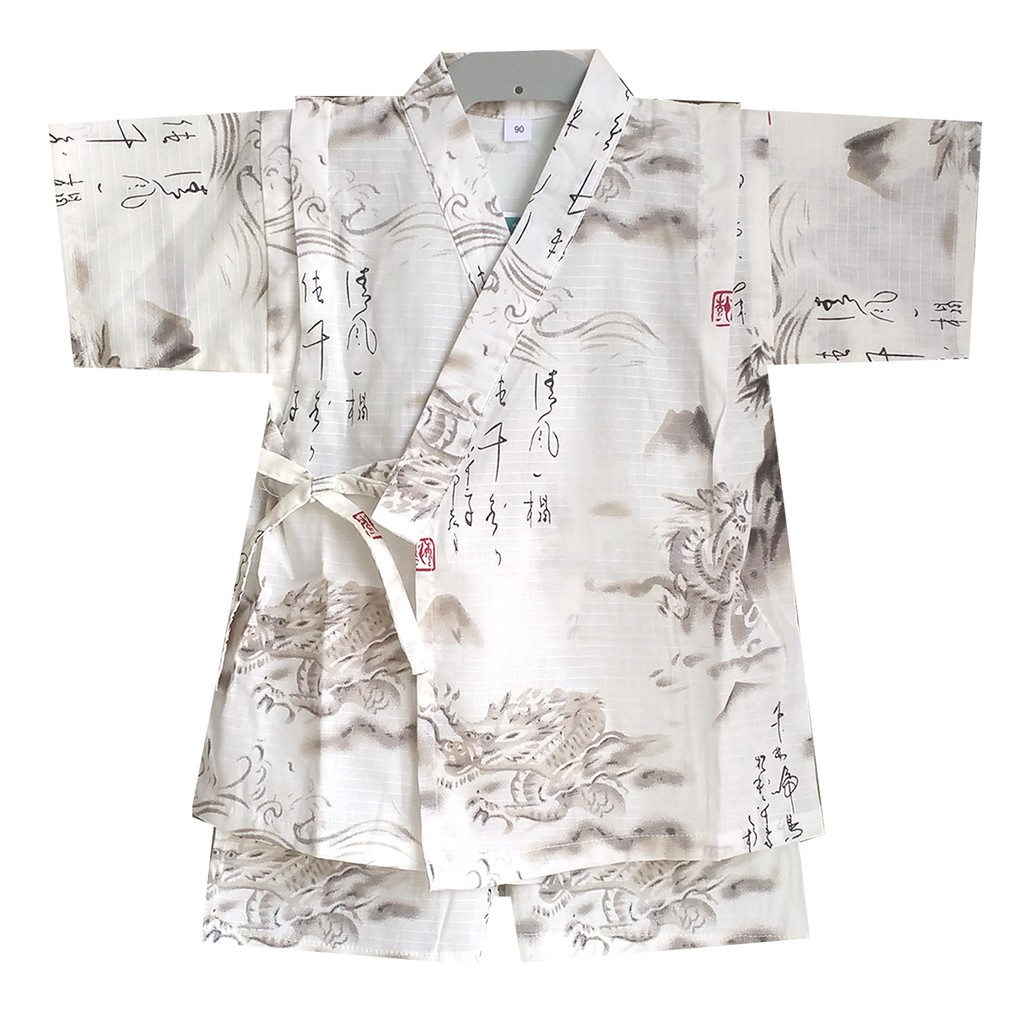 Mkc Chinese Dragon Pattern Jinbei Men And Women Baby Cotton Kimono Bathrobe Shopee Philippines