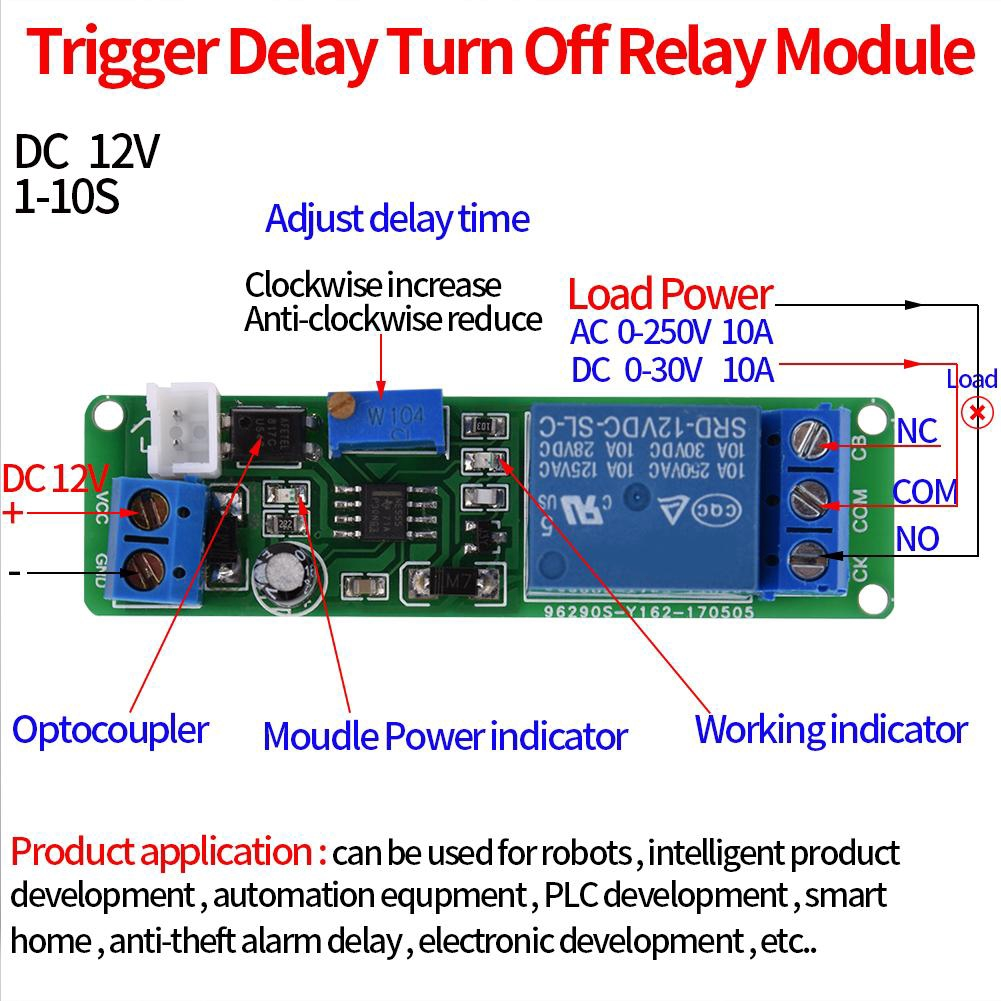 DC 12V Adjustable Times Switch Module Signal Trigger Turn Off Timer Delay Switch Module 1~10sec