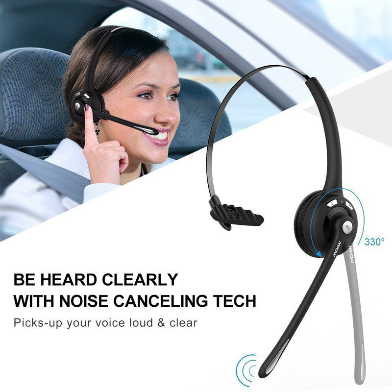 Mpow Pro Trucker Bluetooth Headset Office Wireless Headset With Mic Truck Driver Skype On Ear Bluetooth Headphones For Cell Phone Handsfree Over The Head Earpiece Call Center Blue